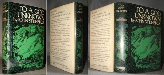 John Steinbeck - Neznámému bohu. Jedná se o jeden z 598 prvních výtisků z roku 1933. Koupit ji lze u Aaabooks za 12 195 dolarů.