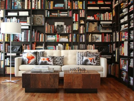 Home-library-ideas-Contemporary-home-library-with-irregular-bookshelves-540x408